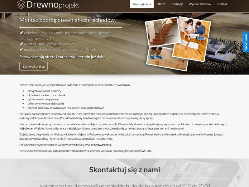 """<p>Strona firmowa</p>  <p>Zakres prac: Kodowanie grafiki, wdrożenie do autorskiego systemu zicoCMS</p>  <p><a href=""""http://www.drewnoprojekt.pl/"""" target=""""_blank"""">zobacz online</a></p>"""