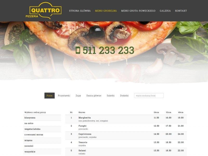 """<p>Strona ofertowa pabianickiej pizzeri Quattro</p>  <p>Zakres prac: Projekt graficzny, kodowanie, RWD, wdrożenie do autorskiego systemu zicoCMS</p>  <p><a href=""""http://quattropab.pl/"""" target=""""_blank"""">zobacz online</a></p>"""