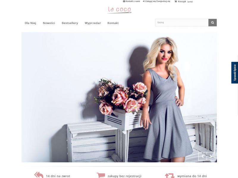 """<p>Sklep internetowy z odzieżą damską</p>  <p>Zakres prac: Logotyp, dostosowanie szablonu, kodowanie wtyczek, instalacja i konfiguracja PrestaShop</p>  <p><a href=""""http://lacoco.pl/"""" target=""""_blank"""">zobacz online</a></p>"""