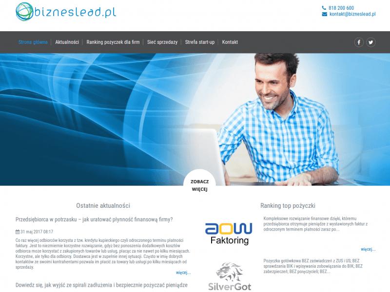 """<p>Strona ofertowa pośrednictwa finansowego</p>  <p>Zakres prac: Projekt graficzny wraz z logotypem, RWD, kodowanie, wdrożenie do systemu zicoCMS</p>  <p><a href=""""http://bizneslead.pl/"""" target=""""_blank"""">zobacz online</a></p>"""