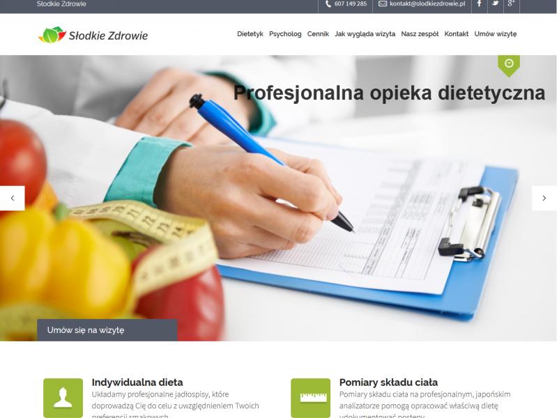 """<p>Serwis dietetyczny</p>  <p>Zakres prac: Modyfikacja, konfiguracja wtyczek i wdrożenie szablonu do systemu WordPress</p>  <p><a href=""""http://www.slodkie-zdrowie.pl/dietetyk/"""" target=""""_blank"""">zobacz online</a></p>"""