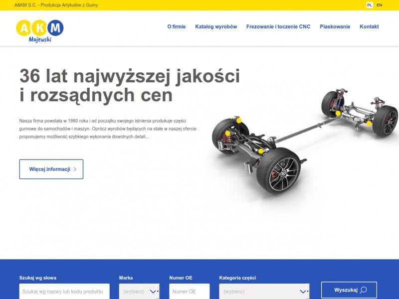 """<p>Strona ofertowa producenta artykułów z gumy wraz z katalogiem produktów</p>  <p>Zakres prac: Projekt graficzny, cięcie, RWD, kodowanie i wdrożenie do systemu zicoCMS</p>  <p><a href=""""http://majewski.com.pl/"""" target=""""_blank"""">zobacz online</a></p>"""