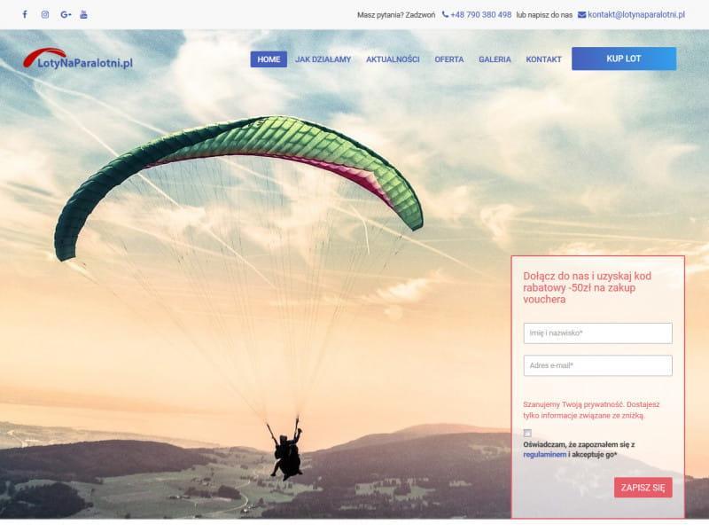 """<p>Strona ofertowa organizatora lotów na paralotni</p>  <p>Zakres prac: Projekt graficzny + logotyp, RWD, kodowanie i wdrożenie do systemu zicoCMS, podpięcie płatności online</p>  <p><a href=""""https://lotynaparalotni.pl/"""" target=""""_blank"""">zobacz online</a></p>"""
