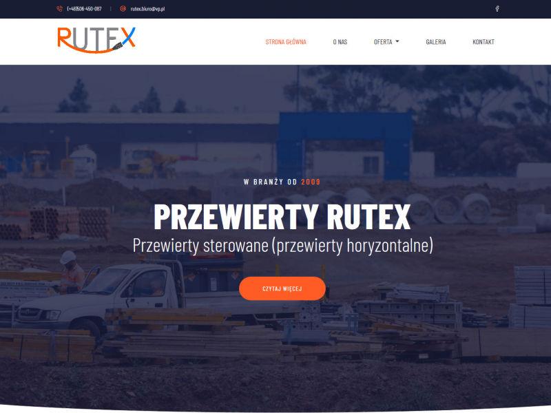 """<p>Strona ofertowa firmy zajmującej się usługami związanymi z pracami kanalizacyjno-budowlanymi</p>  <p>Zakres prac: Projekt logo, projekt strony, kodowanie</p>  <p><a href=""""http://przewierty-rutex.pl/"""" target=""""_blank"""">zobacz online</a></p>"""