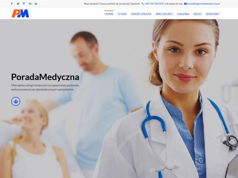 """<p>Strona ofertowa placówki lekarskiej zajmującej się profesjonalnym leczeniem pacjentów</p>  <p>Zakres prac: Projekt logo, projekt graficzny, kodowanie i wdrożenie do systemu zicoCMS</p>  <p><a href=""""http://poradamedyczna.pl/"""" target=""""_blank"""">zobacz online</a></p>"""