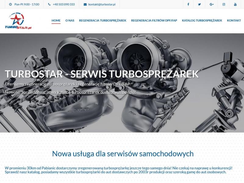 """<p>Strona ofertowa zakładu zajmującego się regeneracją turbosprężarek i filtrów DPF</p>  <p>Zakres prac: Projekt logo, projekt graficzny, kodowanie i wdrożenie do systemu zicoCMS</p>  <p><a href=""""http://turbostar.pl/"""" target=""""_blank"""">zobacz online</a></p>"""